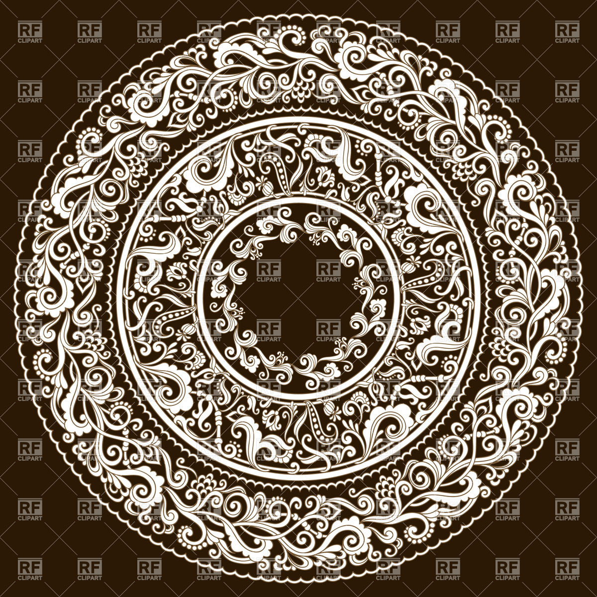 Complex floral round ornament Vector Image #29007.