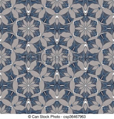 Clip Art Vector of A complex vector seamless floral pattern. To.