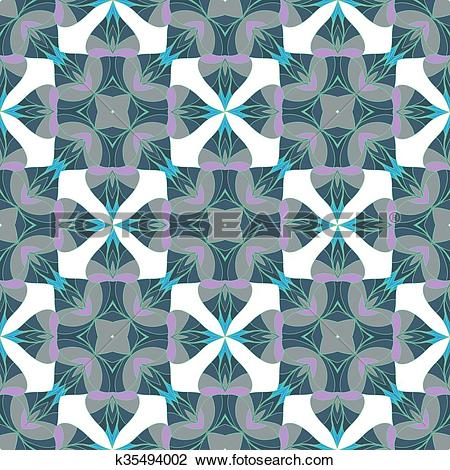 Clipart of A complex vector seamless floral pattern. k35494002.