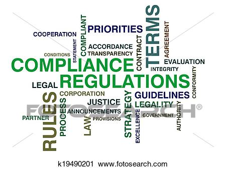 Wordcloud for compliance and regulations Clip Art.
