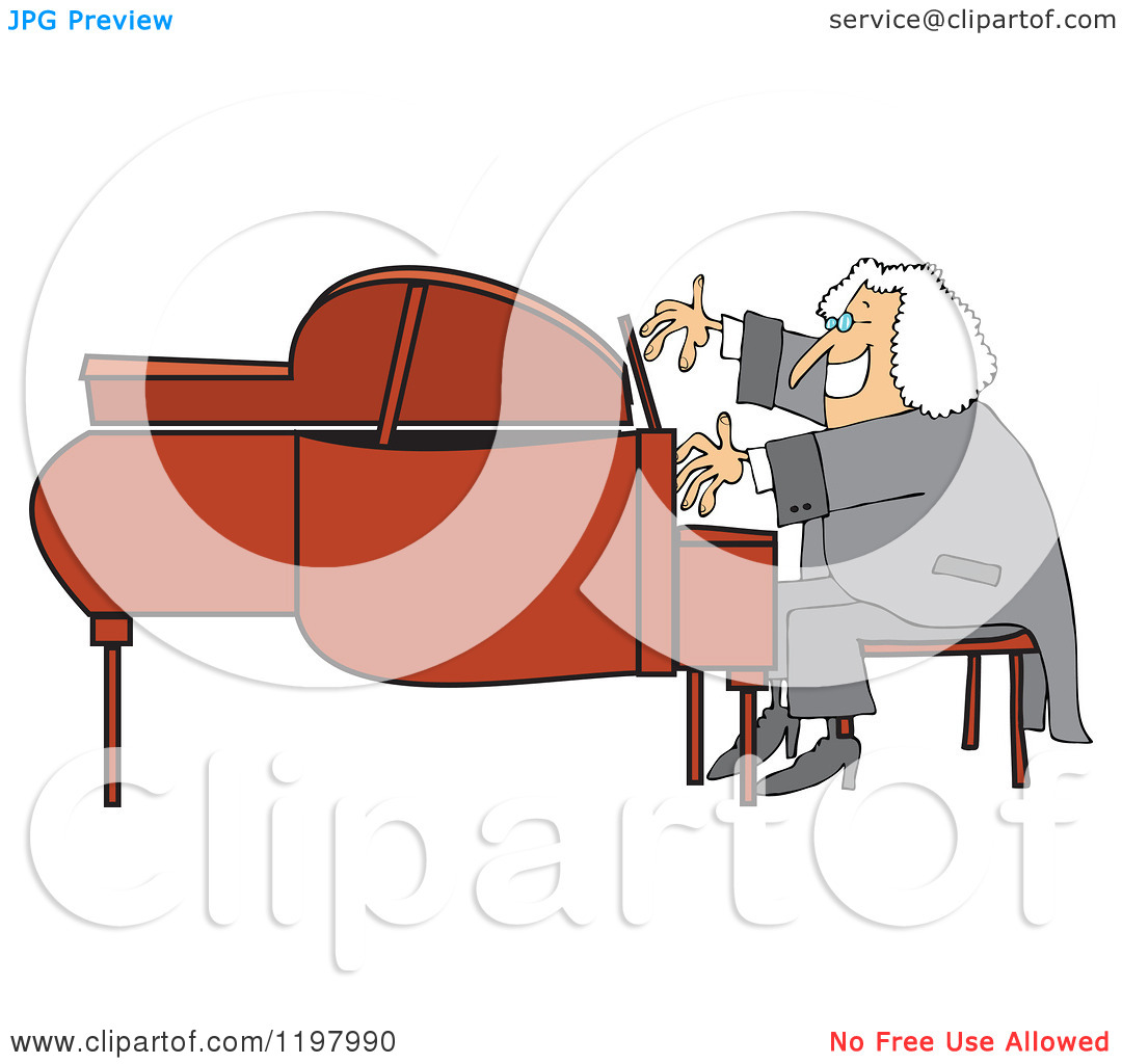 Cartoon of a Classical Music Composer Smiling and Playing a Piano.