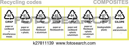 Clip Art of Composites recycling codes k27811139.