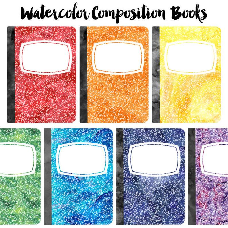 Watercolor Composition Book Clip Art Set, School Supplies Clipart, Instant  Download.