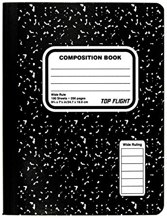 Top Flight Sewn Composition Book, Black and White Marble, Wide Rule, 100  Sheets (41353).