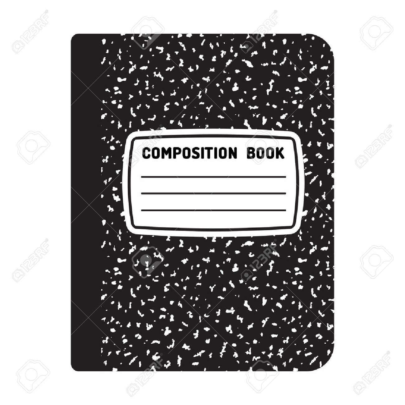 Composition book template. Traditional school notebook illustration..