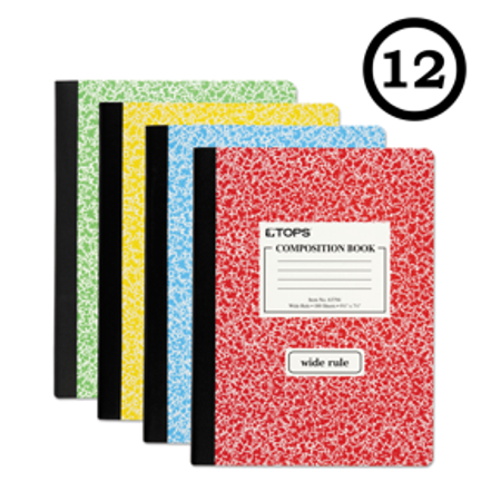 (12 Pack) TOPS Composition Book, Wide Ruled, 100 Pages, 7.5