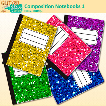 Composition Notebooks Clip Art: School Supply Graphics {Glitter Meets Glue}.