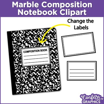 Marble Composition Notebook Rainbow Colors 14 Piece Set Clipart Clip Art.