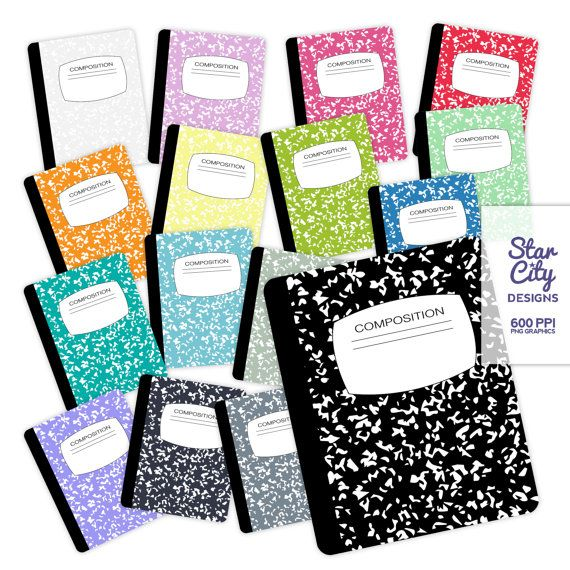 Composition Notebook Clip Art notebook clipart by StarCityDesigns.