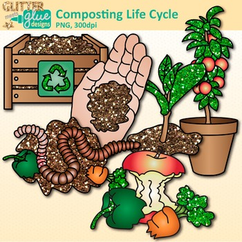 Earth Day Composting Life Cycle Clip Art: Conservation {Glitter Meets Glue}.