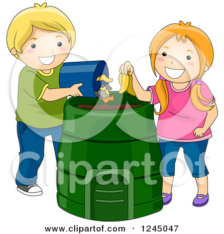 Clipart of a Hand Dropping a Banana Peel into a Compost Bin.