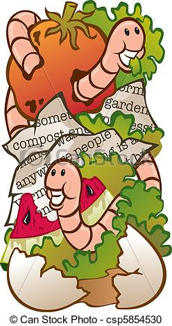 Vector Clipart of Worm Composting.