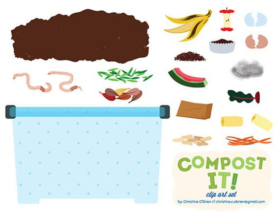 Compost It! Compost Bin Clip Art Set.