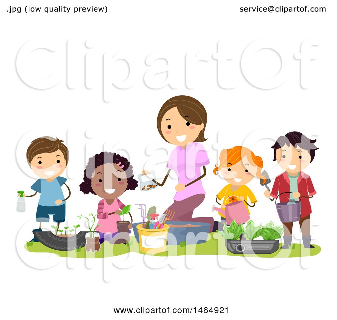 Clipart of a Group of School Children Composting for a Garden.