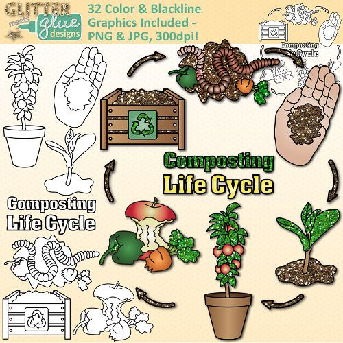 Earth Day Composting Life Cycle Clip Art: Conservation {Glitter.