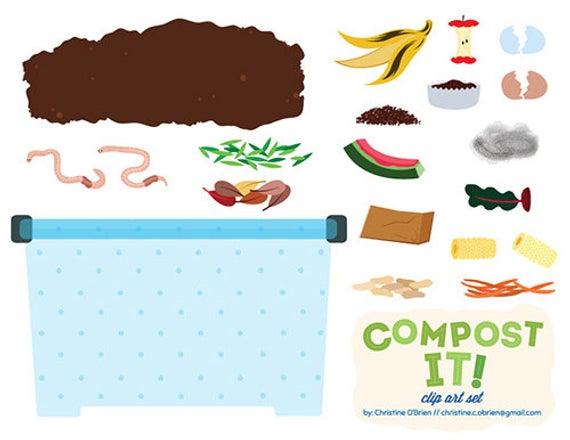 Compost It! Compost Bin Clip Art Set.