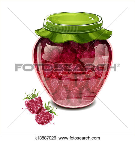 Clip Art of Jar of raspberry jam k13887026.