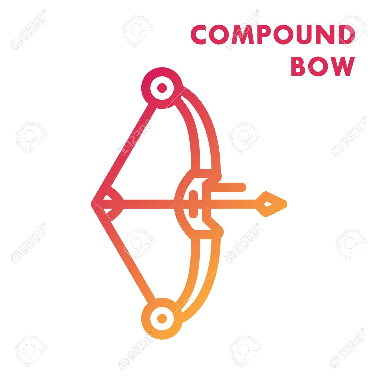 compound bow icon, line art.