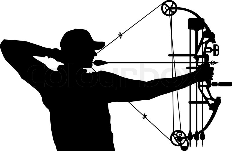 Bow hunter drawing compound bow.