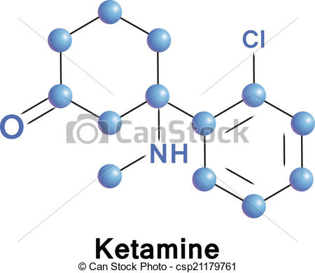Clip Art Vector of Ketamine chemical compound molecular structure.