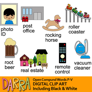 Compound words clip art / Open compound words clipart bundle.