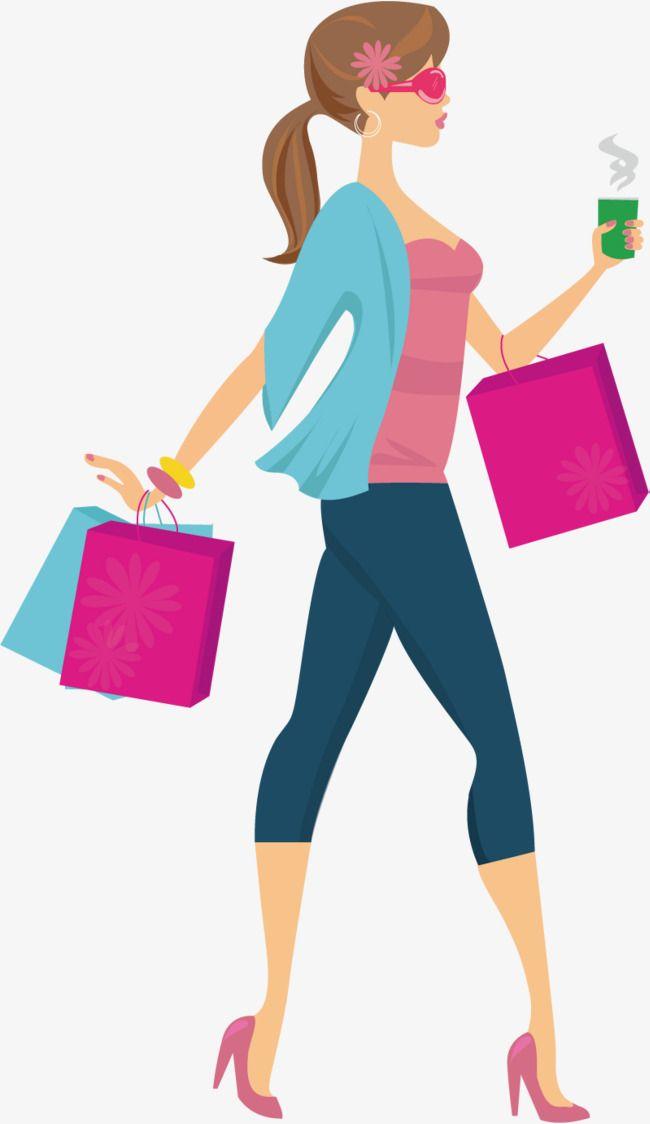 Menina Compras De Moda, Shopping, Menina, Cartoon PNG e vetor para.