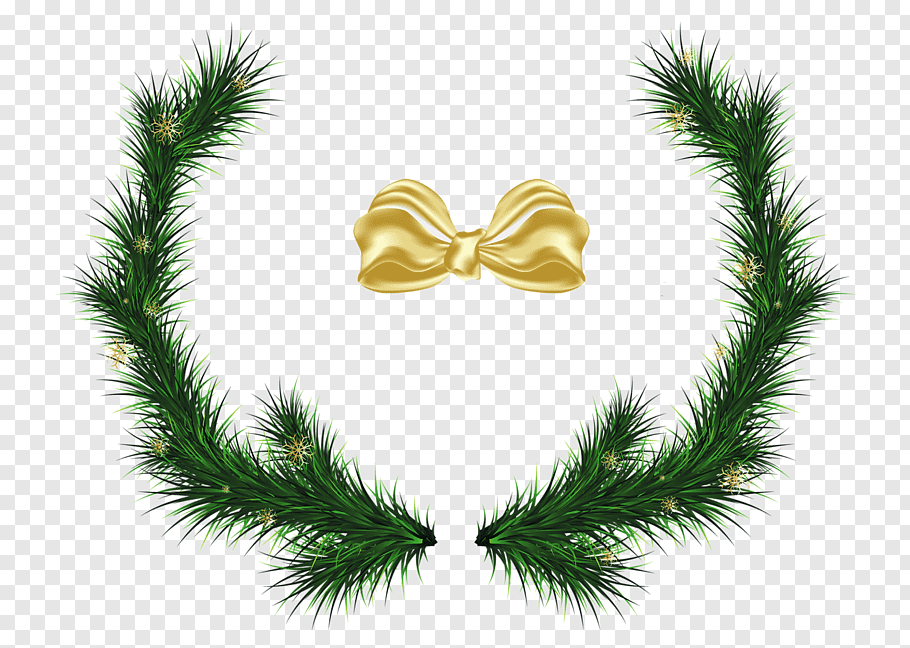 Green Christmas wreath and yellow ribbon illustration, file.