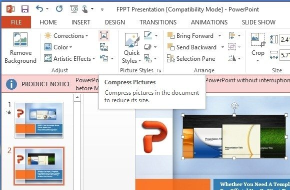 Compress Pictures in PowerPoint 2013 To Reduce Presentation.
