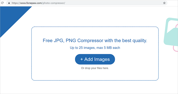 Free FonePaw Photo Compressor: Compress PNG/JPG Online up to 80%.