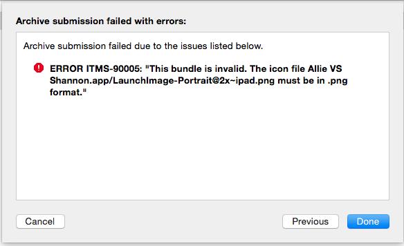 Bundle is invalid Xcode publishing error.