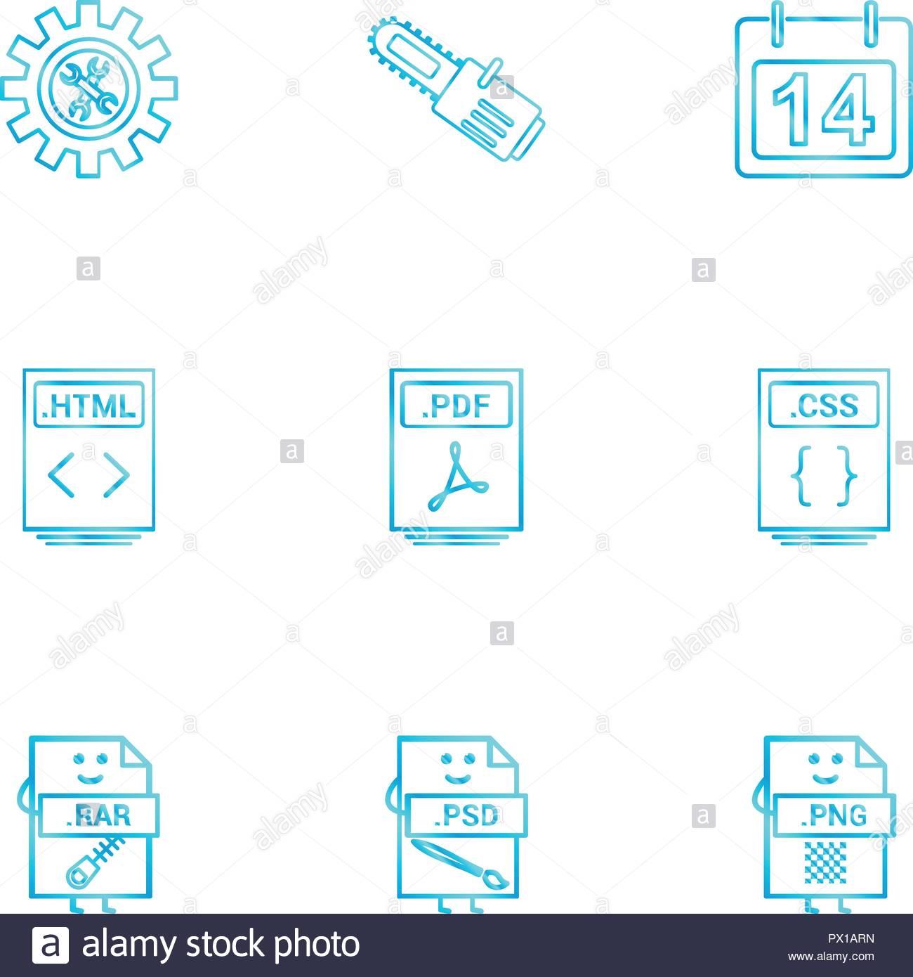 Gear , cutter , calender , html file , pdf file , css file.
