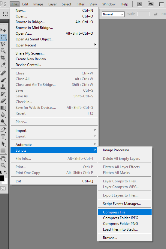 Using Photoshop actions and Tinypng plugin to batch resize images.