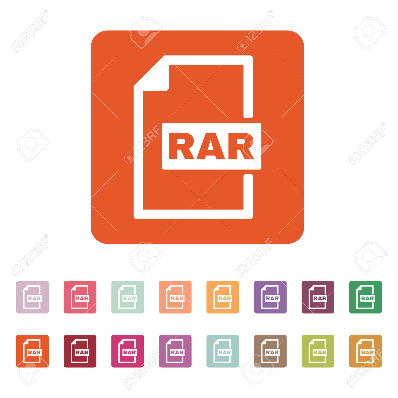 The RAR File Icon. Archive, Compressed Symbol. Flat Vector.