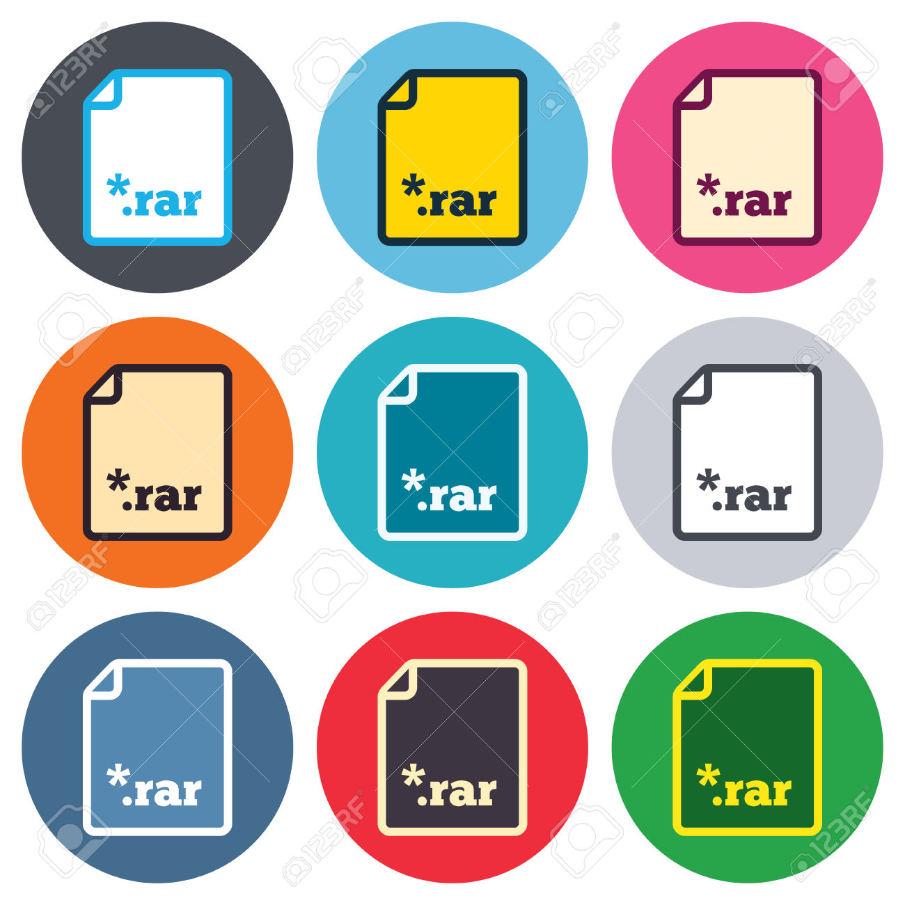 Archive File Icon. Download Compressed File Button. RAR Zipped.