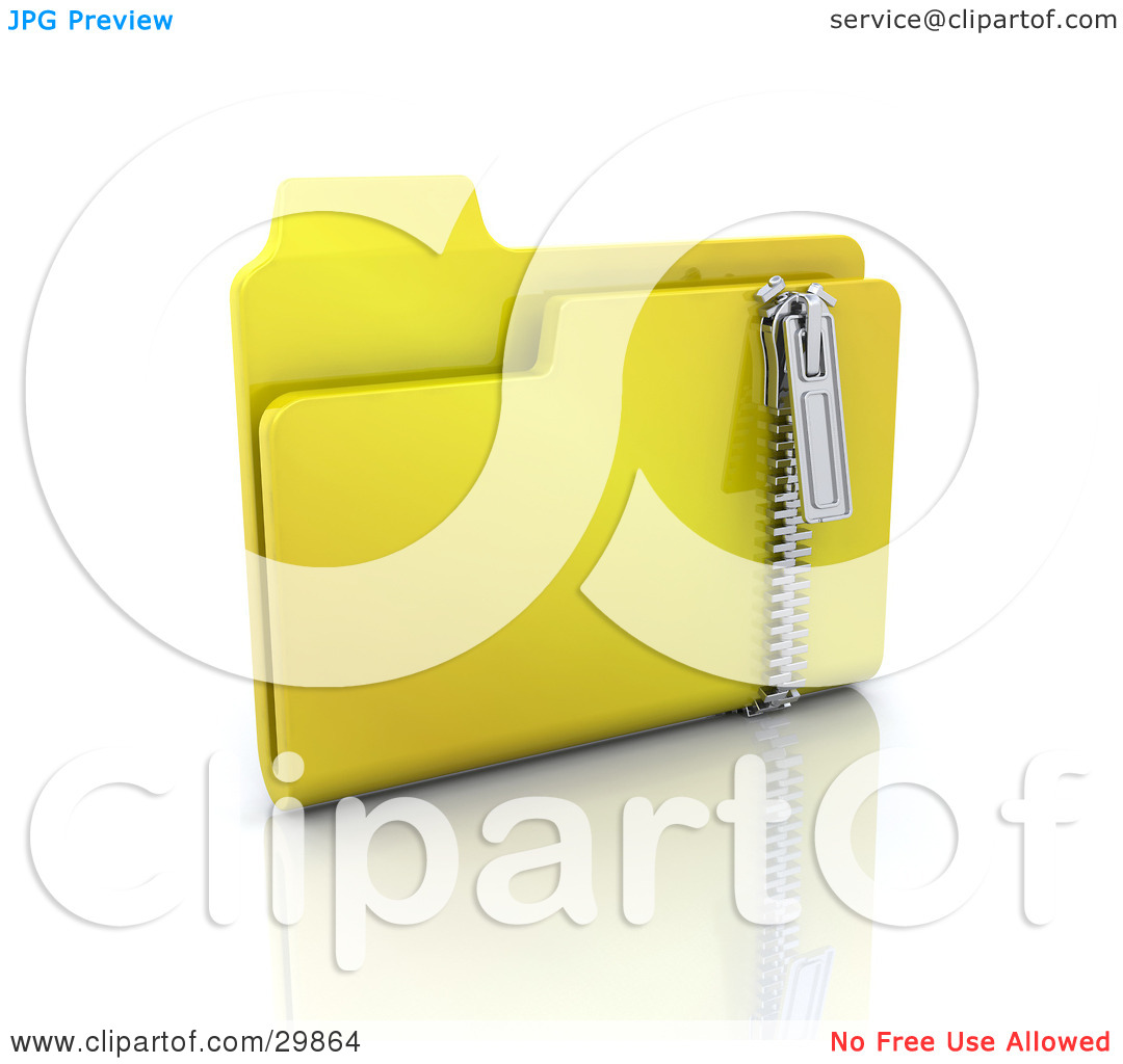 Clipart Illustration of a Yellow Zip Folder With Compressed Files.