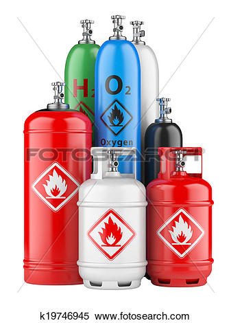 Stock Illustration of cylinders with compressed gas k19746945.