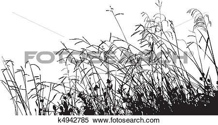 Clipart of Meadow Grass Silhouette k4942785.
