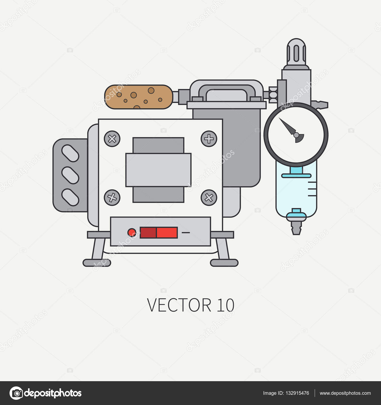 Line flat color vector icon of drawing instruments for.