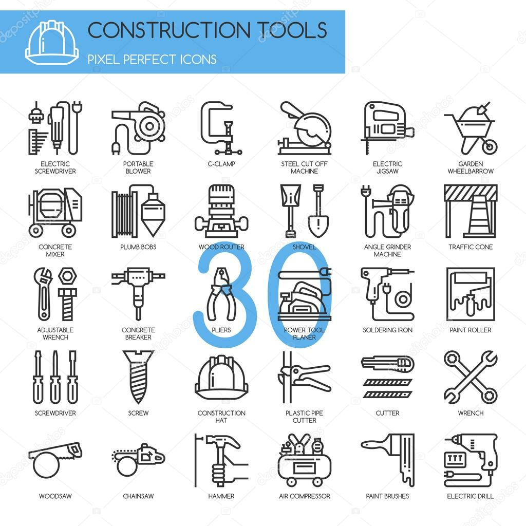 Construction Tools , thin line icons set , Pixel Perfect.