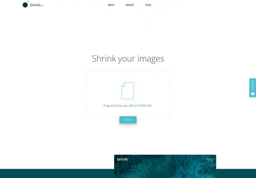 ShrinkMe: Un service pour compresser vos images en ligne sans perte.