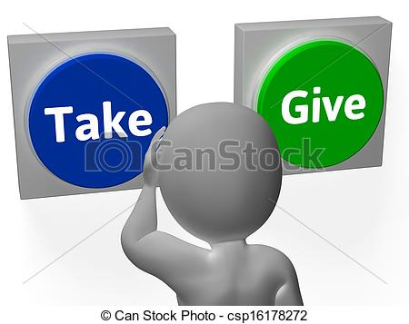 Picture of Take Give Buttons Show Compromise Or Negotiation.