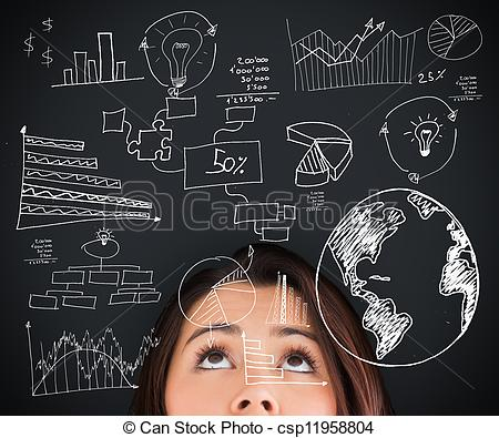Stock Photography of Woman looking up on the picture of various.