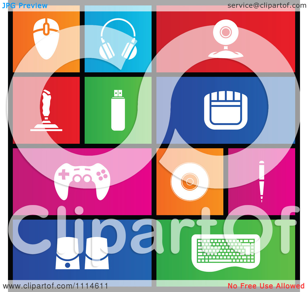 Clipart Set Of Colorful Square Computer PC Accessories Metro Style.