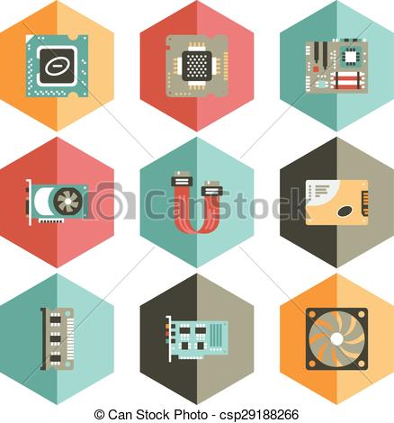 Clip Art Vector of icon computer accessories pc.