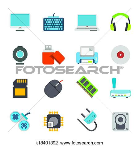 Clipart of Computer accessories icons k18401392.