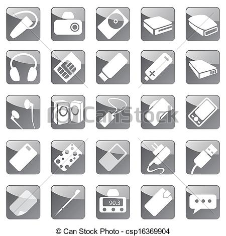 Vector Clipart of Phone and Computer Accessories Icon Set.