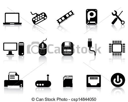Computer hardware icons Vector Clip Art Royalty Free. 12,884.