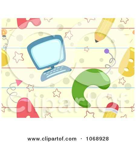 Clipart Seamless Computer And School Background.