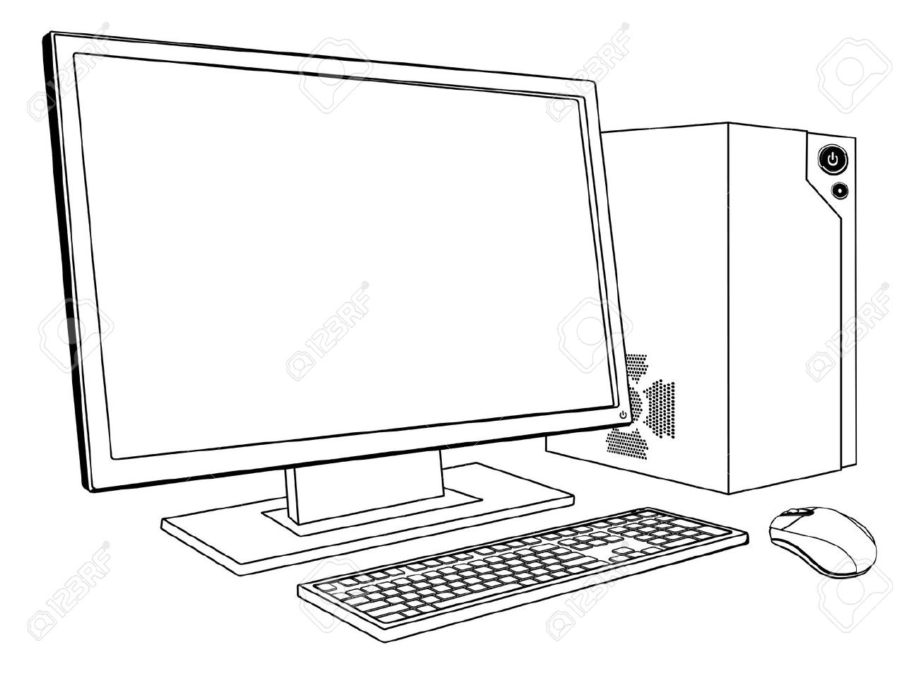 A black and white illustration of desktop PC computer workstation.