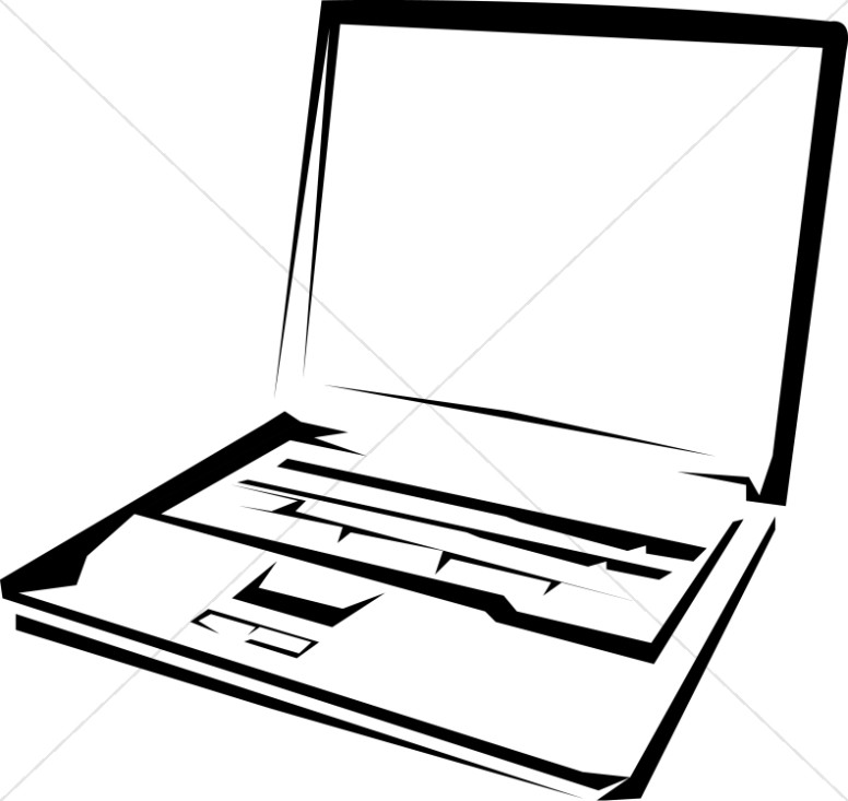 Black and White Laptop Computer.